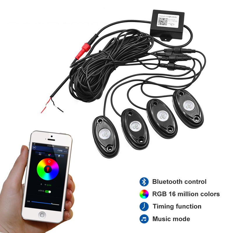Top Popular RGB High Power LED Rock Light Kit Bluetooth For Truck SUV Off-Road Boat