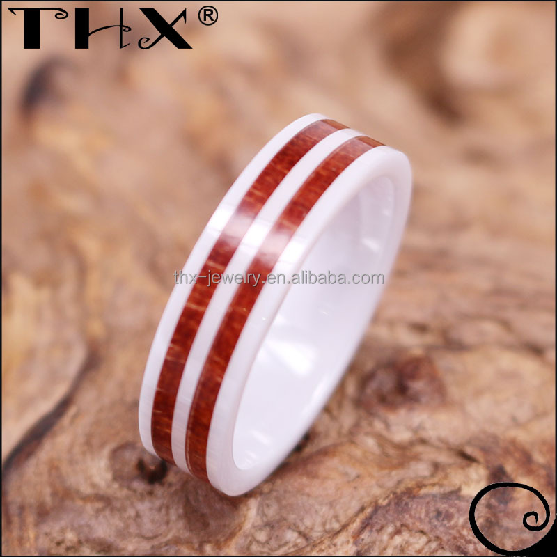6mm Double Red Hawaiian Koa Wood Inlay White Zirconium Women's Wedding Band Engagement Ring