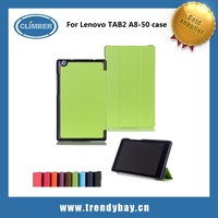 OEM Wholesale pu flip cover for lenovo tab 2 a8-50 leather case with Auto Sleep / Wake Feature