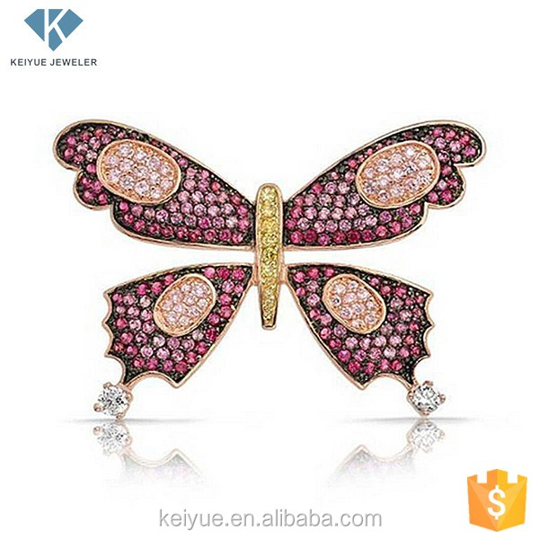 Precious ruby and gold butterfly brooch as real with animal circle pattern