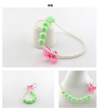 New round pearl necklace colorful bowknot candy for kids coat decoration