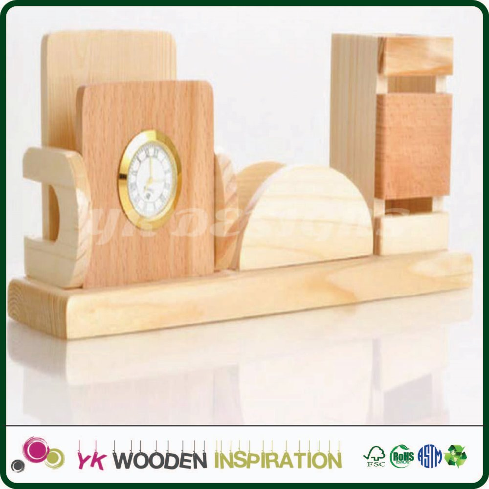 wooden pen holder with clock for Office Stationery