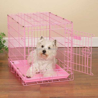 Double Door Folding Colored Metal Pet Crate