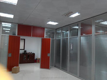 Bank office wall dividers wooden glass fireproof partition with free design