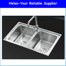 Popular Product High Gloss Kitchen 304# Double Bowls Stainless Steel Kitchen Sink Topmounted Washing Sink No.OR8248A