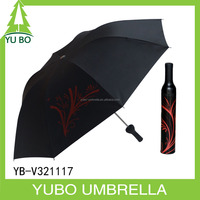 Wholesale advertising 3 fold Wine bottle shape umbrella custom logo custom color