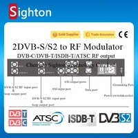 2 tuner and 1 asi input dvb-s2 dvb-s to atsc-t digital catv rf modulator