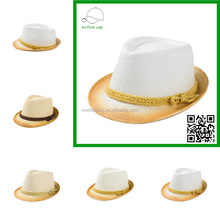 New design high quality gradual change straw hat with rope panama straw hat cheap wholesale straw hats