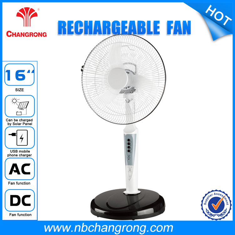 16 Inch Oscillating 3-speed Rechargeable Electrical Fans with Solar Charging