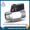 Polished Chrome Plated Brass Mini Ball Valve With aluminum Handle For Water Air Oil And Gas With ISO certificate