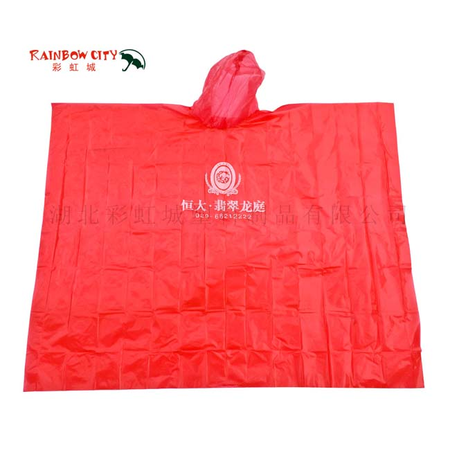 Red plastic poncho raincoat disposable logo printing rain wear