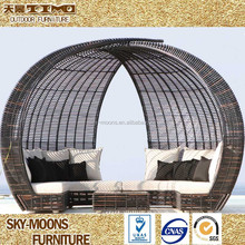 Modern rattan daybed round rattan daybed garden rattan lounge beds(L050)