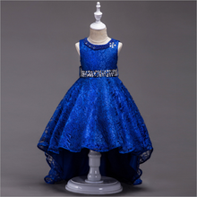 A piece of lace floor length wear party the foreign trade tail skirt children dress princess girls dancing performance dress