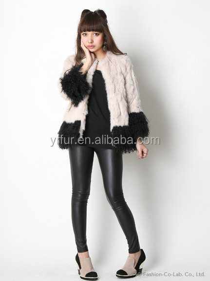 YR750 Hot Sale Sweet Girl Rex Rabbit Mongolian Sheep Long Fur Coat/High Quality Fur Garment
