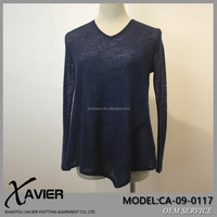 Bottoming shirt100% cashmere yarn ladies suits design unique slim fashion aqua cashmere sweater