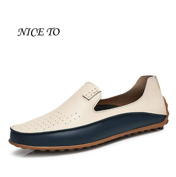 Brand Summer Causal Shoes Men Loafers Genuine Leather Moccasins Men Driving Shoes High Quality Flats For Man size 36-47