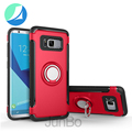 Red colors Carbon filber TPU PC phone case with ring holder for samsung galaxy s8 plus