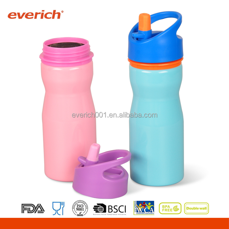 Double wall stainless steel vacuum insulated water bottle with straw lid for kids