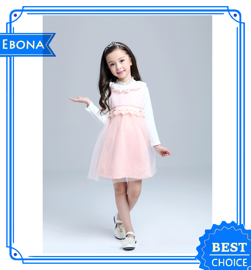 2016 Autumn Winter Cotton Design Princess Dress Up Lovely Girl Party Dresses