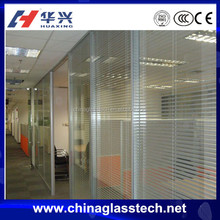 Office Swing Double Glass Door With Venetian Blinds