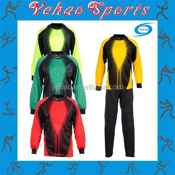 profession soccer goalkeeper uniform with protective padding