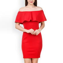 2017 latest pictures formal dresses women bodycon red Simple off Shoulder dress fashion