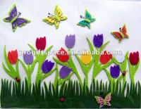 2016 new fashion hot handmade polyester butterfly/tulip flowers decorative ornament wholesale felt 3d wall stickers home decor