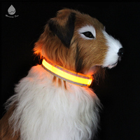 Wholesale Double Reflective Strip Flashing Bulk Nylon LED Dog Collar