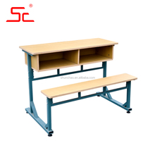 School furniture wood classroom double desks with chairs