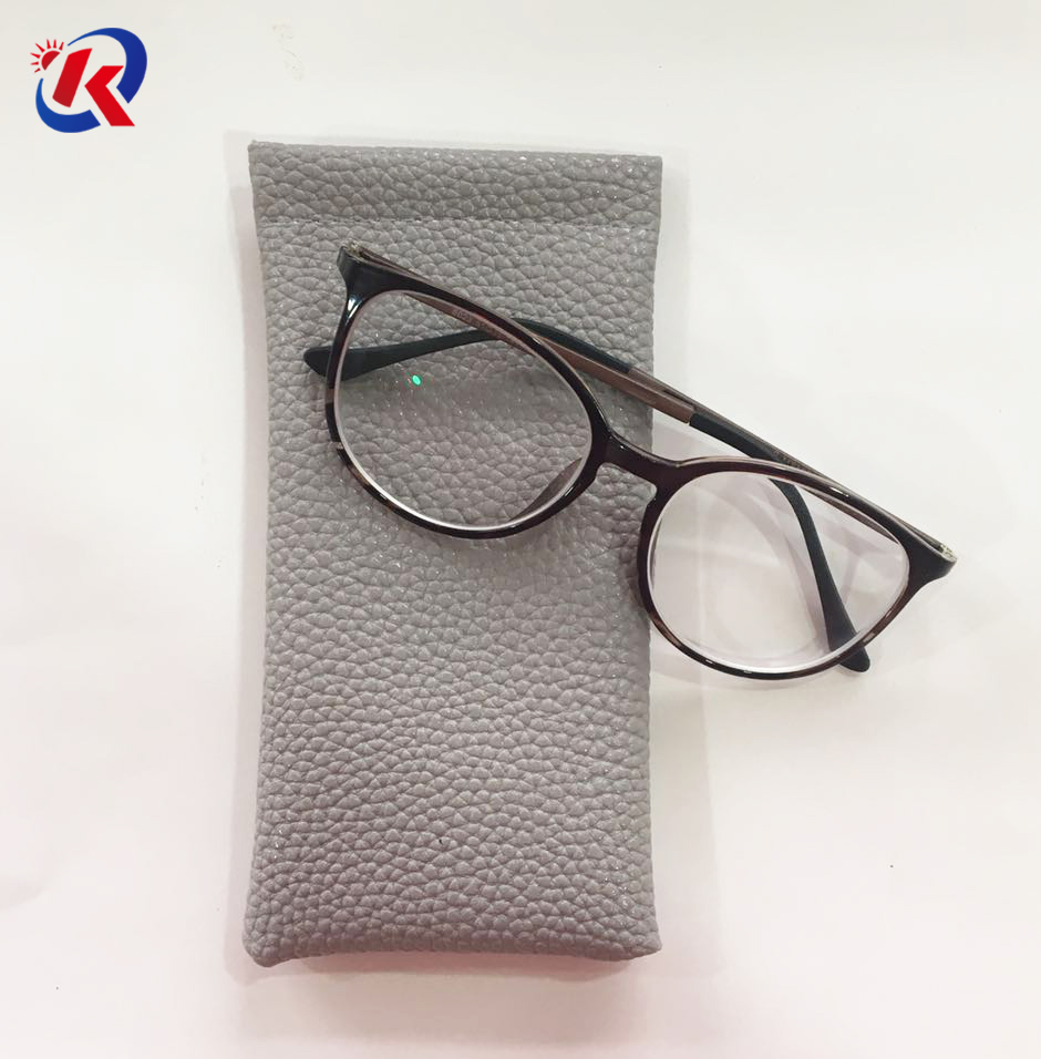 good quality eyeglasses leather pouch with spring strip