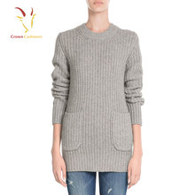 Women rib knit heavy cashmere sweater for winter
