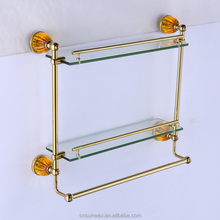 Two Tiers Bathroom Glass Shelves Double Glass Shelves Rose Golden Bathroom Accessories