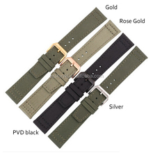 100% High Quality Economic Army Green Canvas Watch Strap With IPG/ PVD black Hardware