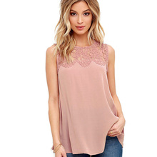 Blusas Women Blouses Plus size 3XL Casual 2017 summer Solid Chiffon Lace Sleeveless Shirt Blouse Tank Tops Cheap-Clothes-China