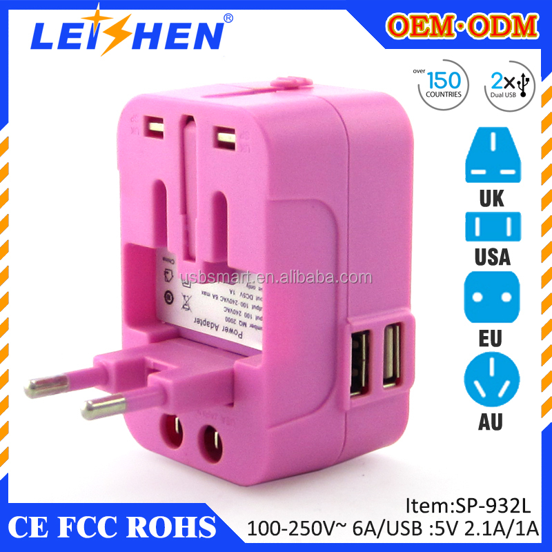 Safety Universal World-Wide Travel Adapter 2.1A with Dual USB Charger All-in-one AC Power Plug For AUS USA EU UK