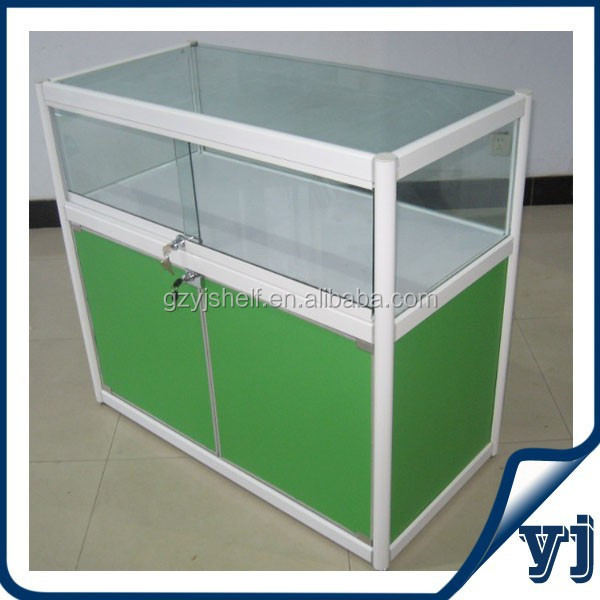 Mobile shop display counter, showcase for mobile phone shop, glass sliding door cabinet
