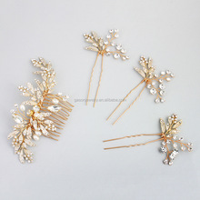 Bride wedding ornaments glittering handmade Crystal Gold Flower hair accessories sets