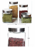 Square glass canister with stainless steel lid