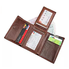 Genuine Leather Trifold Leather Wallet Mens Rfid Travel Wallets
