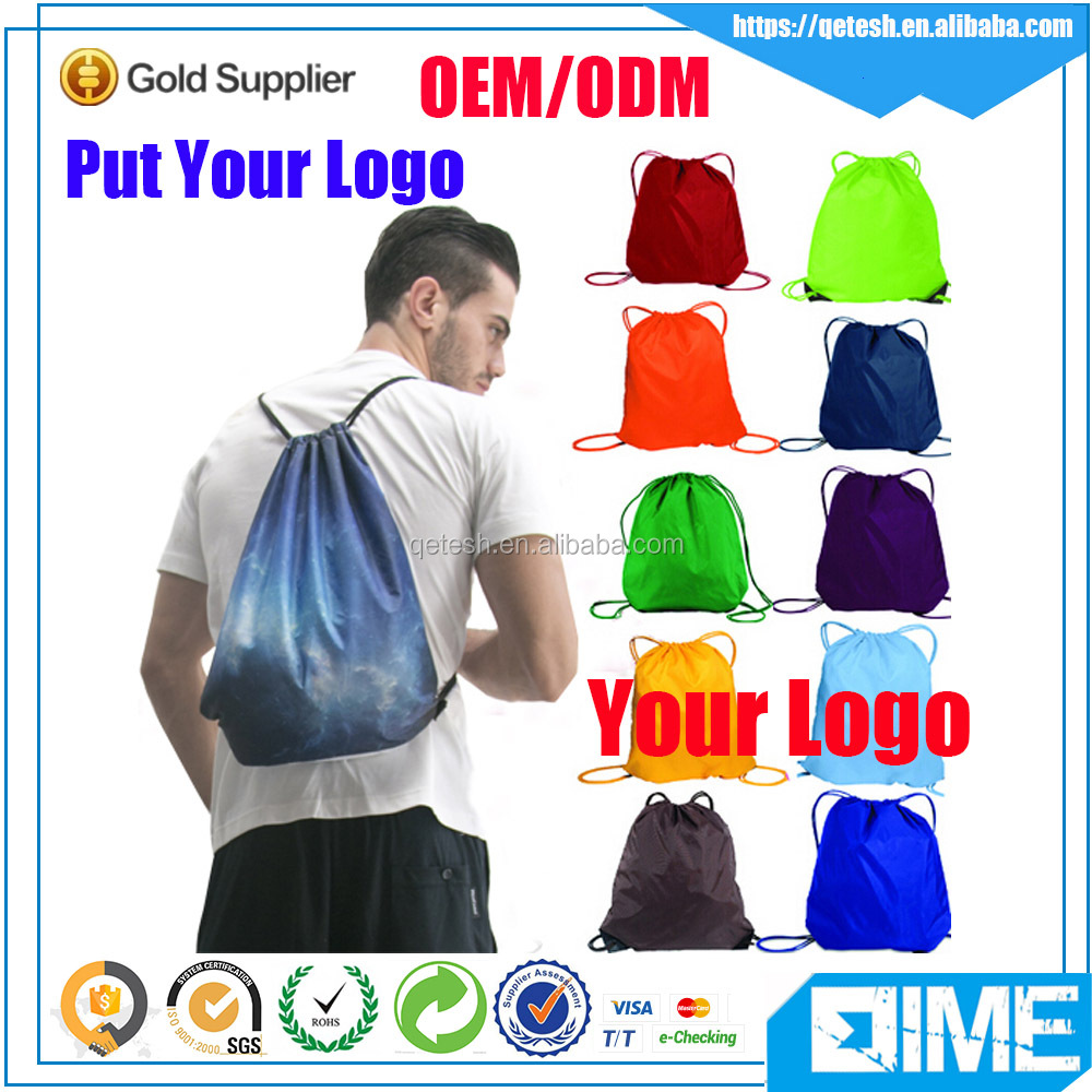 Colorful Promotional Polyester Custom Fabric Shopping Drawstring Bag