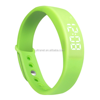 Natural green silicone wristband pedometer smart watch with silent alarm and time /Date function