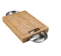 PRO Carving/Cutting Board with Stainless Steel Bowls