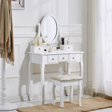 Shabby Chic White Size Wooden French Royal Rattan Dressing Table