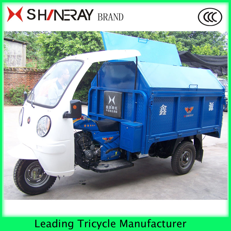shineray motor garbage tricycle for adults with cabin closed hot sale