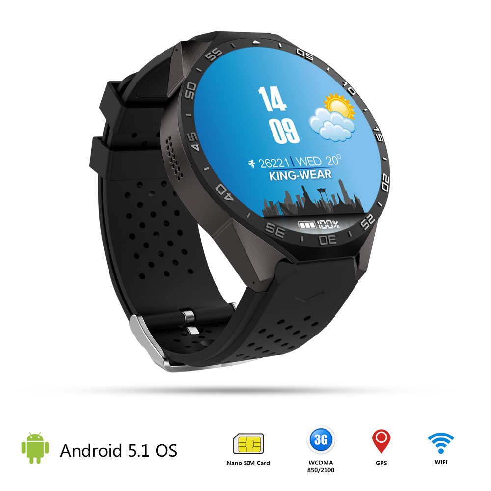 Lemfo kw88 Android 5.1 Smart Watch 512MB + 4GB Bluetooth 4.0 <strong>WIFI</strong> 3G Smartwatch Phone Wristwatch Support Google Voice GPS Map