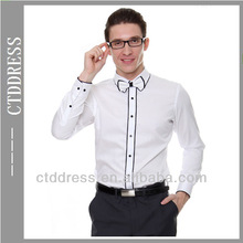 White slim fit style fashion mens wear 100% cotton mens custom shirt