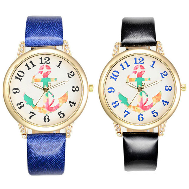 Anchor Face Leather Strap Gold Case Women Multi Color Strap Watch