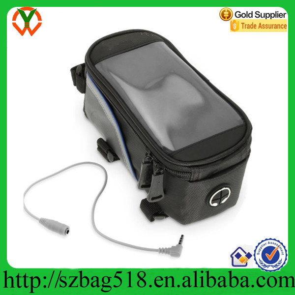 Black Reflective Strip Water Resistant Bike Frame Storage Bag with Mobile Phone Holder