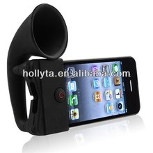 Cute design silicone horn speaker stand for iphone