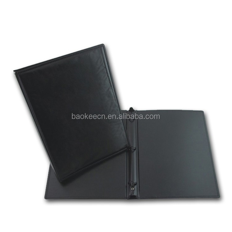 Best selling durable using 3 Holes Black PVC leather ring binder